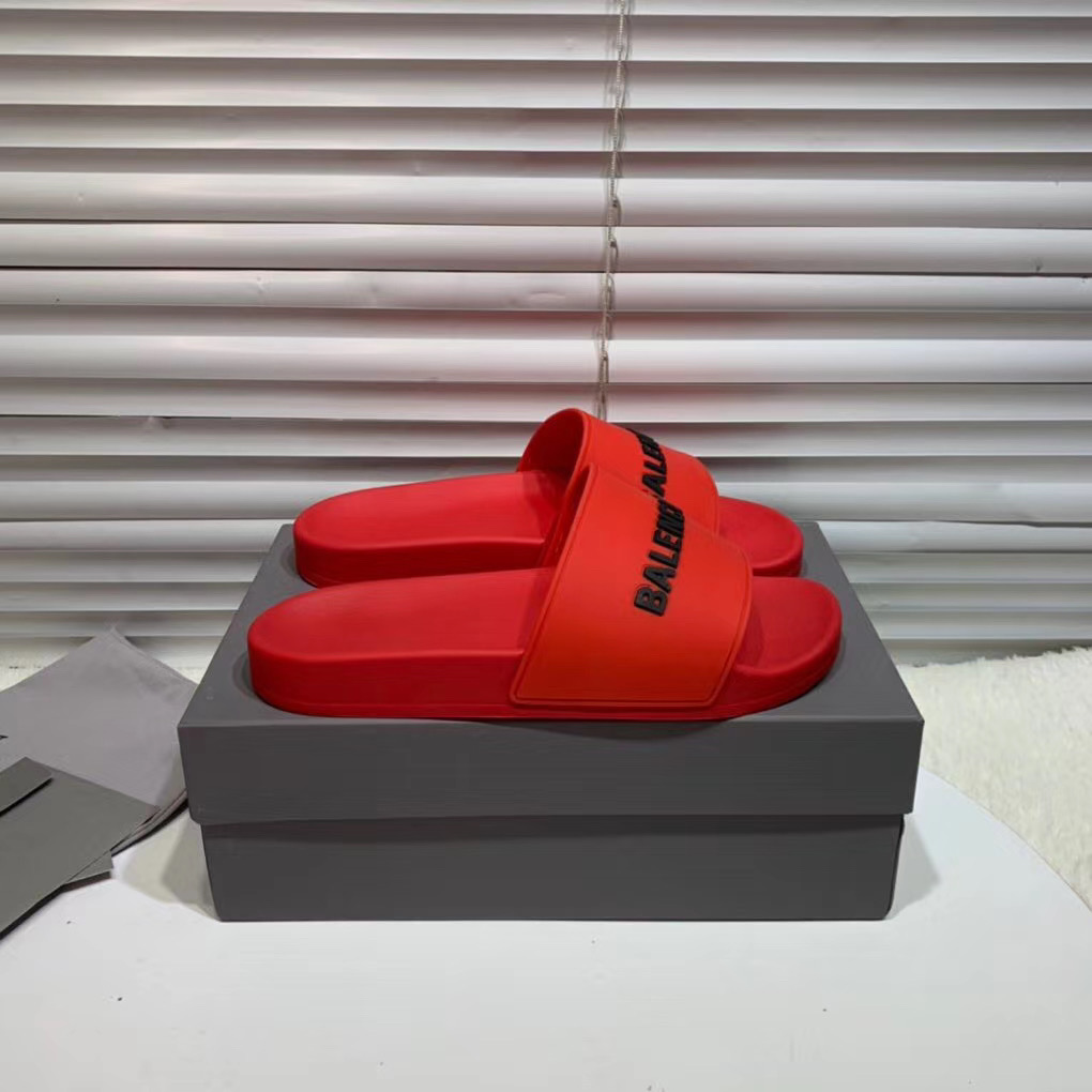 Dép Balenciaga nam siêu cấp màu đỏ chữ đen DBL07