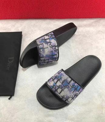 Dép Dior nam siêu cấp đế đen quai hoạ tiết logo DDR03