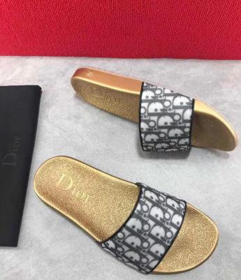 Dép Dior nam siêu cấp đế vàng quai hoạ tiết logo DDR08