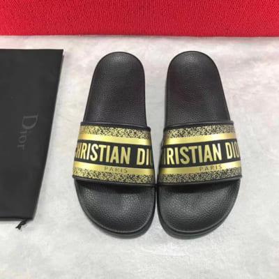 Dép Dior nam siêu cấp màu vàng bóng logo Christian Dior DDR05