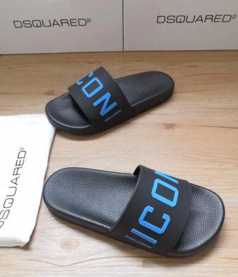 Dép Dsquared2 nam siêu cấp đen logo xanh biển DDS11