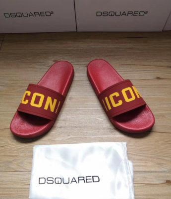 Dép Dsquared nam siêu cấp đỏ họa tiết icon vàng DDS12