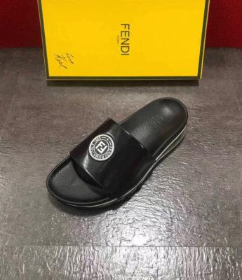 Dép Fendi nam siêu cấp đen logo trắng DFD03
