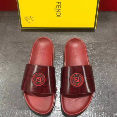 Dép Fendi nam siêu cấp đỏ logo đỏ DFD02