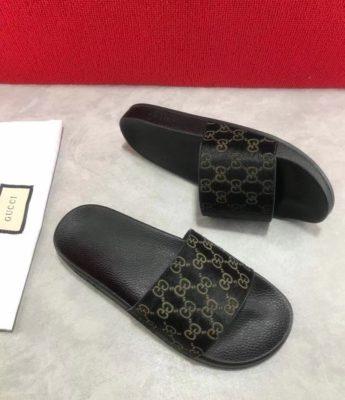 Dép Gucci nam siêu cấp quai ngang đen hoạ tiết logo DGC03