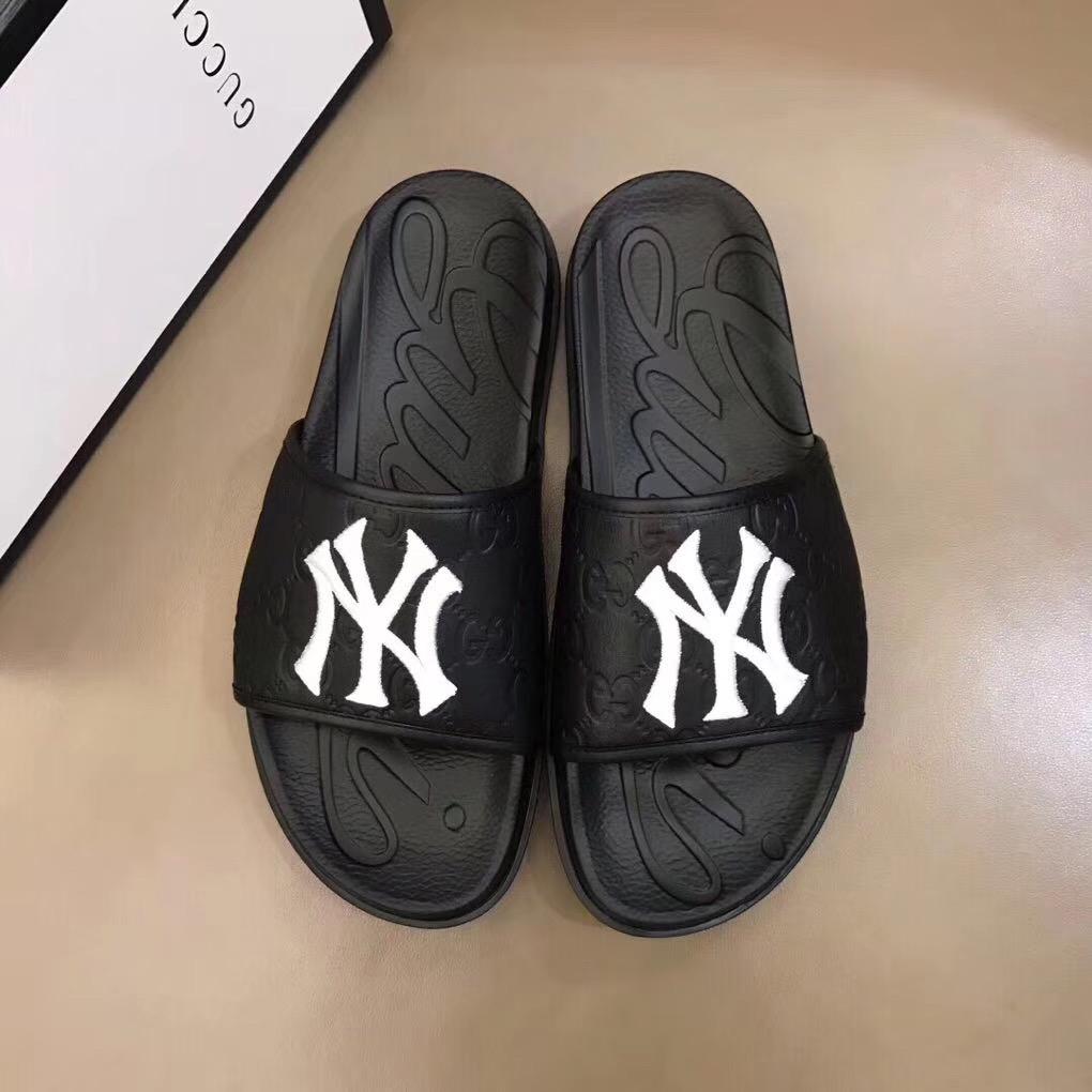 Dép Gucci nam siêu cấp quai ngang đen logo NY trắng DGC14