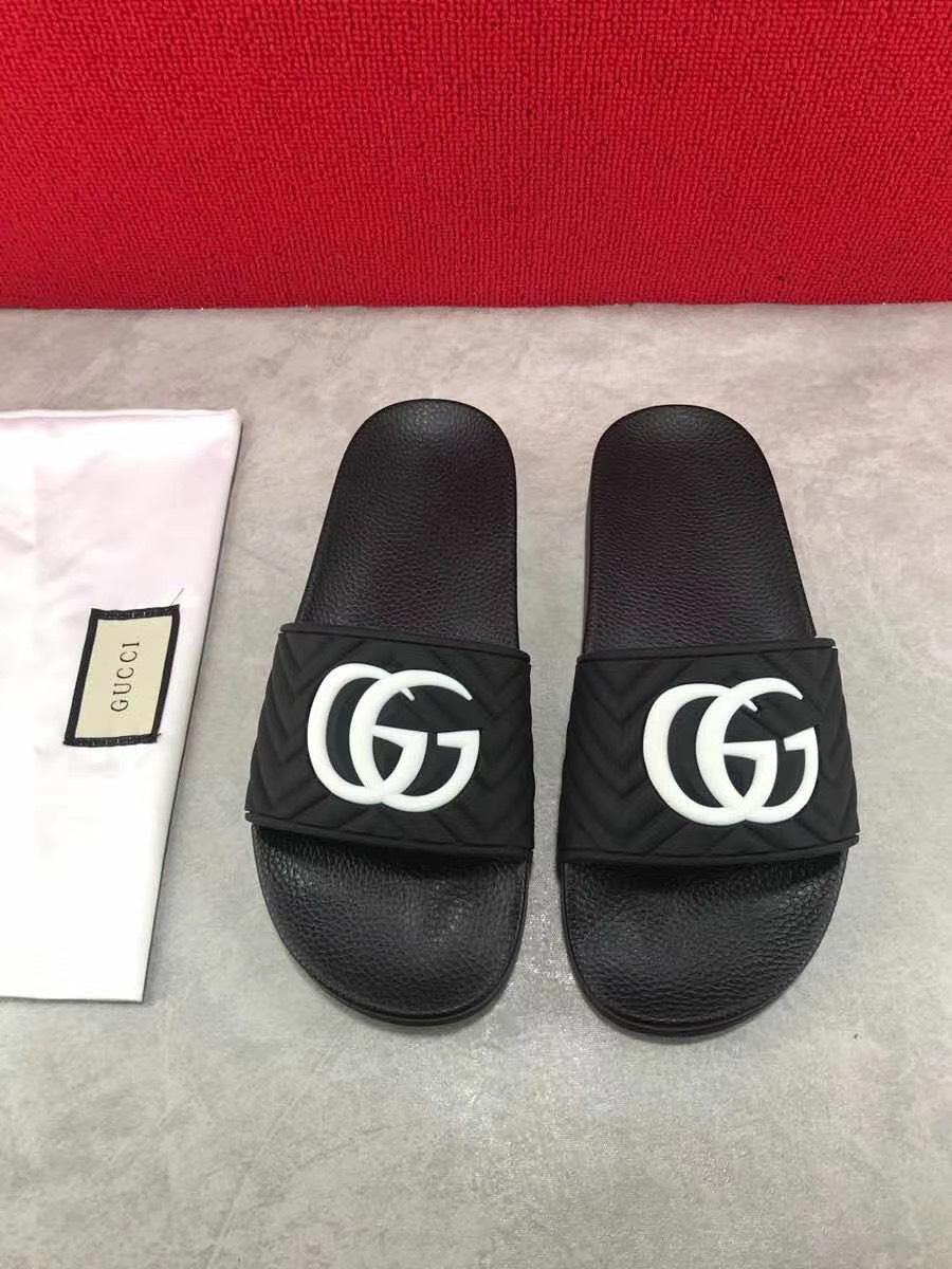 Dép Gucci nam siêu cấp quai ngang đen logo trắng DGC02