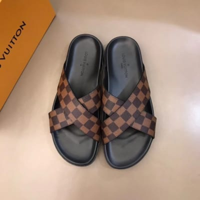 Dép Louis Vuitton nam like auth quai chéo caro nâu DLV07