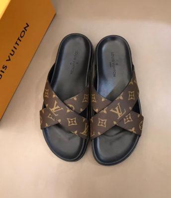 Dép Louis Vuitton nam siêu cấp quai chéo hoa nâu DLV22