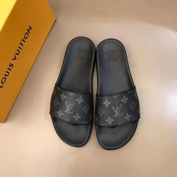 Dép Louis Vuitton nam siêu cấp quai ngang hoa ghi đen DLV29