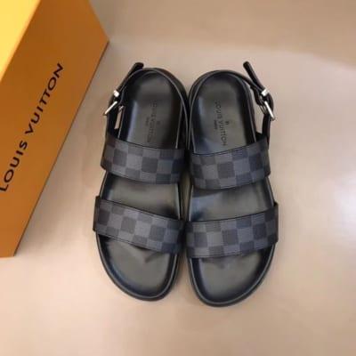 Dép Louis Vuitton nam like auth sandal caro ghi đen DLV03