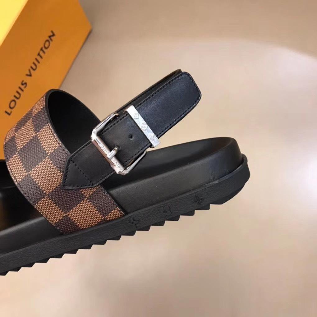 Dép Louis Vuitton nam like auth sandal caro nâu DLV08
