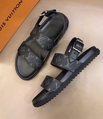 Dép Louis Vuitton nam siêu cấp sandal hoa ghi đen DLV28