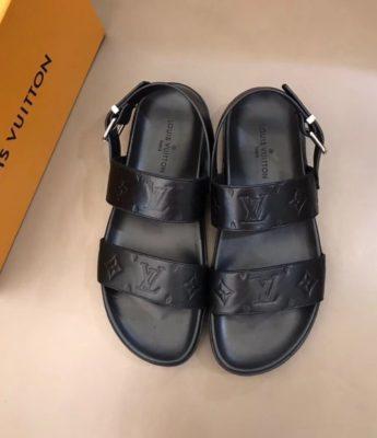 Dép Louis Vuitton nam like auth sandal hoạ tiết chìm DLV13