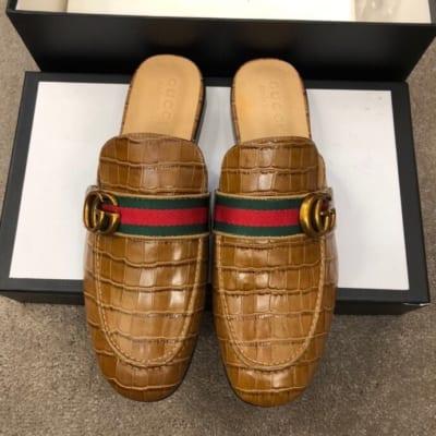 Dép sục Gucci nam siêu cấp nâu da sần hoạ tiết logo DGC18