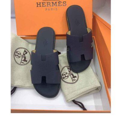 Dép Hermes nam like au da sần màu xanh DHM20