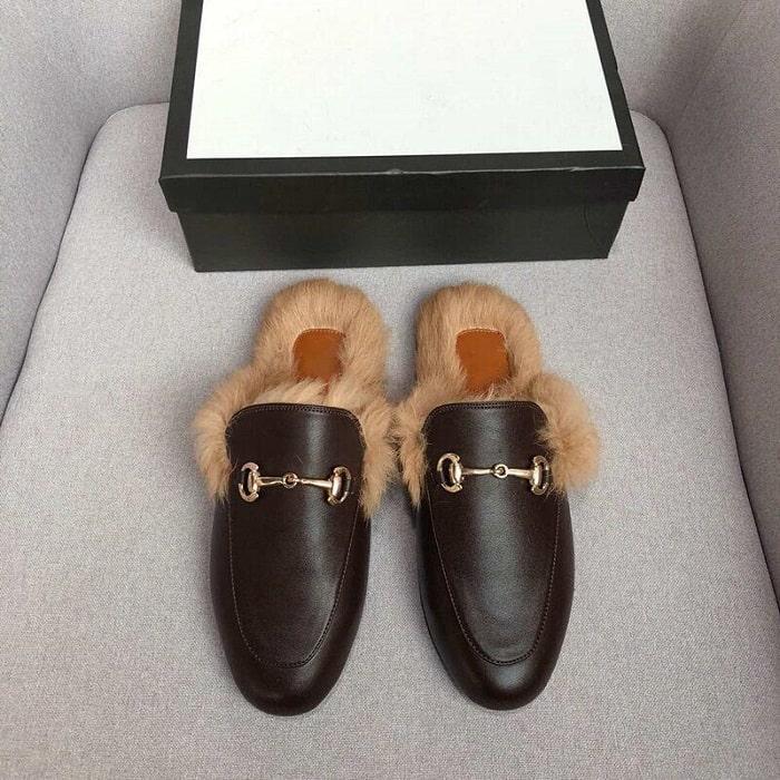 mẫu sục lót lông khóa horsebit của Gucci
