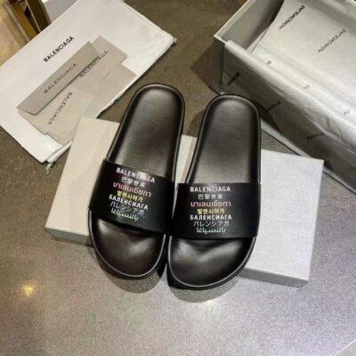 Dép Balenciaga nam siêu cấp họa tiết chữ màu đen DBL10