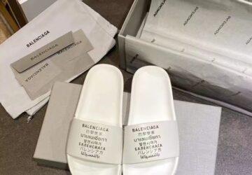 Dép Balenciaga nam siêu cấp họa tiết chữ màu trắng DBL08