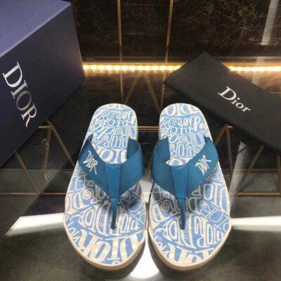 Dép Dior nam siêu cấp kẹp ngón họa tiết logo quai xanh DDR25