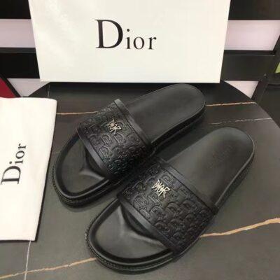 Dép Dior nam quai ngang họa tiết da dập tag logo DDR12