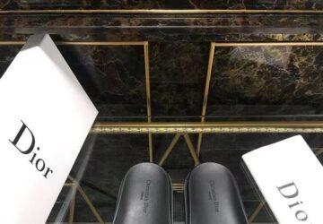Dép Dior nam siêu cấp quai ngang họa tiết khóa logo nhỏ DDR16