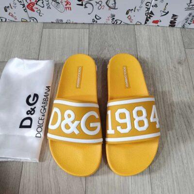 Dép Dolce nam siêu cấp quai ngang họa tiết logo màu vàng DDG09