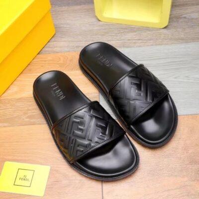 Dép Fendi nam siêu cấp kẹp ngón họa tiết logo màu đen DFD16