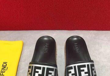 Dép Fendi nam siêu cấp quai ngang họa tiết logo quai bạc DFD17