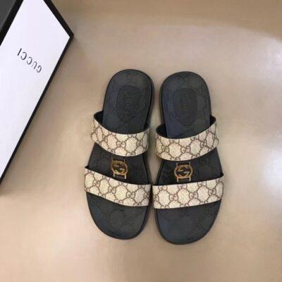 Dép Gucci nam siêu cấp hai quai ngang họa tiết logo màu sữa DGC64