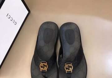 Dép Gucci nam siêu cấp kẹp ngón họa tiết khóa logo vàng DGC44