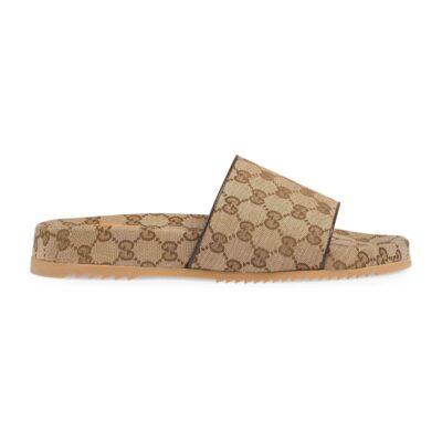Dép Gucci nam like au quai ngang họa tiết logo màu vàng DGC33