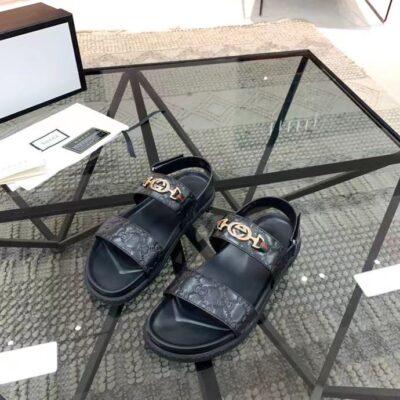 Dép Gucci nam siêu cấp sandal họa tiết khóa logo vàng DGC63