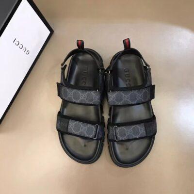 Dép Gucci nam siêu cấp sandal họa tiết logo xanh đen DGC61