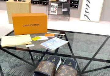 Dép Louis Vuitton siêu cấp nam quai ngang họa tiết hoa nâu đế viền trắng DLV35