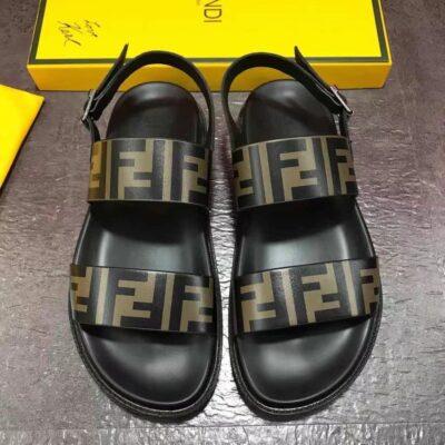 Dép nam Fendi siêu cấp sandal họa tiết logo màu vàng DFD22