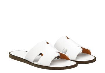 Dép nam Hermes like au da sần màu trắng DHM35