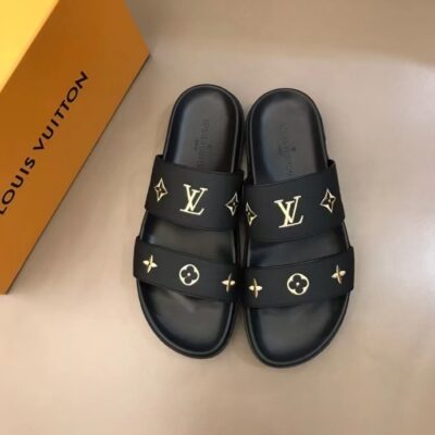 Dép nam Louis Vuitton siêu cấp hai quai họa tiết logo vàng DLV77
