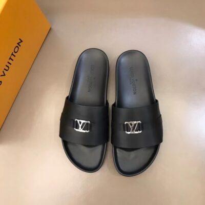Dép nam Louis Vuitton siêu cấp quai ngang họa tiết logo nhỏ DLV51