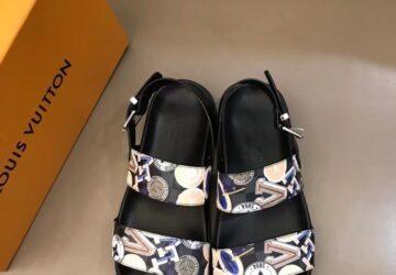 Dép nam Louis Vuitton siêu cấp sandal họa tiết chữ nhiều màu DLV90