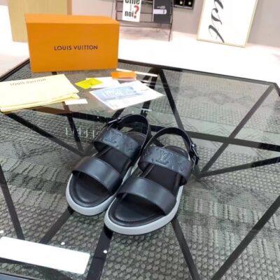 Dép nam Louis Vuitton siêu cấp sandal họa tiết hoa chìm đế viền trắng DLV87