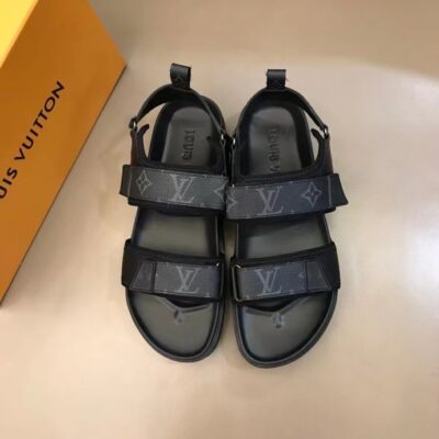 Dép nam Louis Vuitton siêu cấp sandal họa tiết hoa đen quai dán DLV85