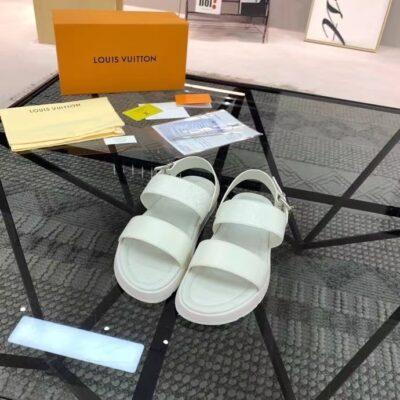 Dép nam Louis Vuitton siêu cấp sandal họa tiết hoa full trắng DLV86