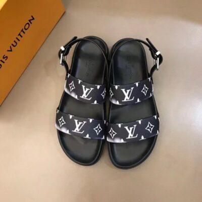 Dép nam Louis Vuitton siêu cấp sandal họa tiết hoa khói DLV89