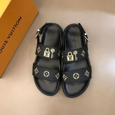 Dép nam Louis Vuitton siêu cấp sandal họa tiết logo hình khóa màu vàng DLV92