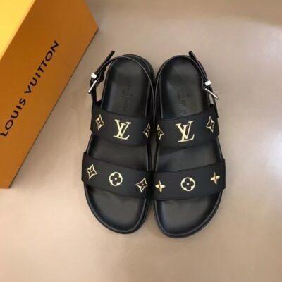 Dép nam Louis Vuitton siêu cấp sandal họa tiết logo in màu vàng DLV91