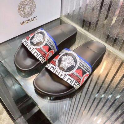 Dép nam Versace siêu cấp quai ngang hoạ tiết quai trắng đỏ DVS23