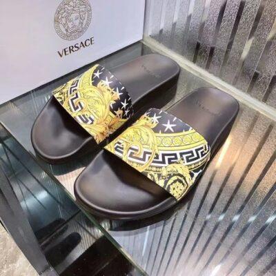 Dép nam Versace siêu cấp quai ngang hoạ tiết vàng đen DVS24